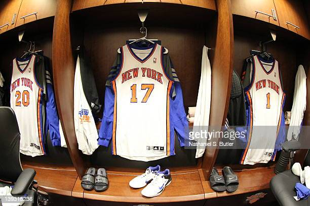 The jersey of Jeremy Lin of the New York Knicks hangs in the locker room prior to the game against the Dallas Mavericks on February 19 2012 at...
