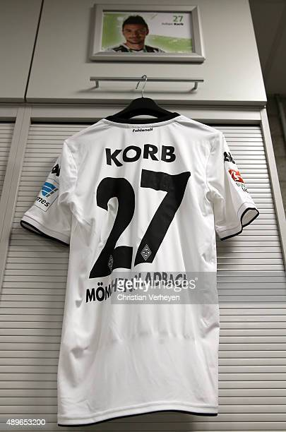 The jersey of Julian Korb inside the dressing room of Borussia Moenchengladbach ahead the Bundesliga match between Borussia Moenchengladbach and FC...