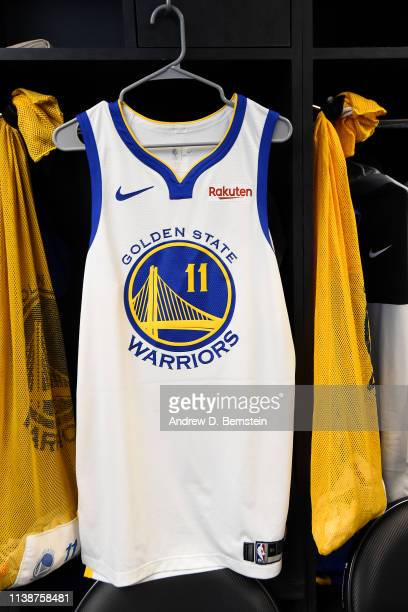 The jersey of Klay Thompson of the Golden State Warriors is seen in the locker room before Game Four of Round One of the 2019 NBA Playoffs against...