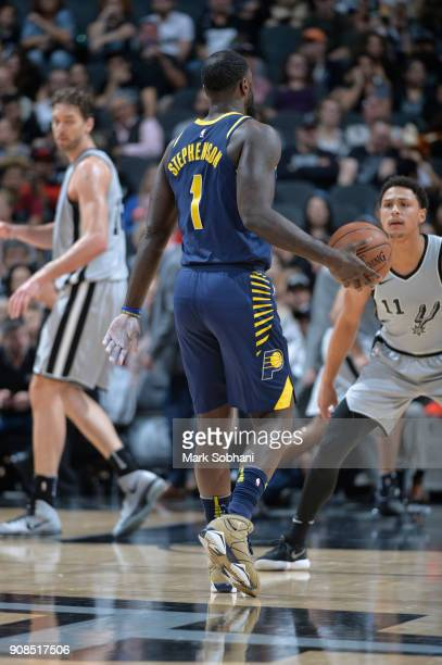 The jersey of Lance Stephenson of the Indiana Pacers as seen during the game against the San Antonio Spurs on January 21 2018 at the ATT Center in...