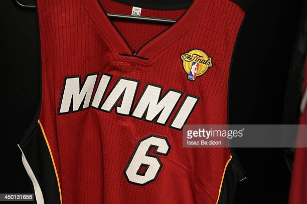 The jersey of LeBron James of the Miami Heat before the game against the San Antonio Spurs in Game One of the 2014 NBA Finals at ATT Center on June 5...
