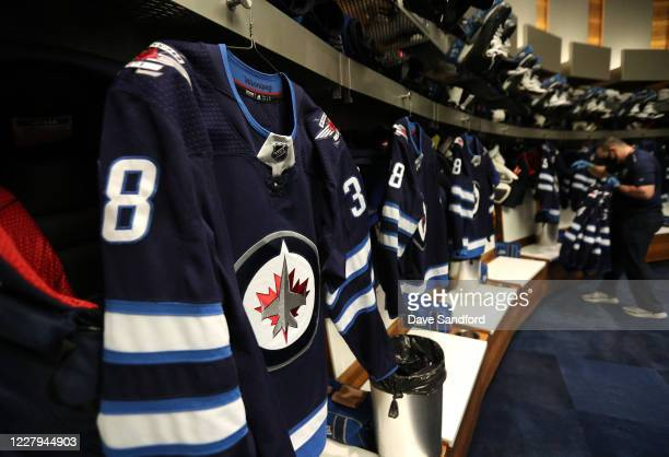 The jersey of Logan Shaw of the Winnipeg Jets is seen hanging in the Edmonton Oilers dressing room before Game Four of the Western Conference...