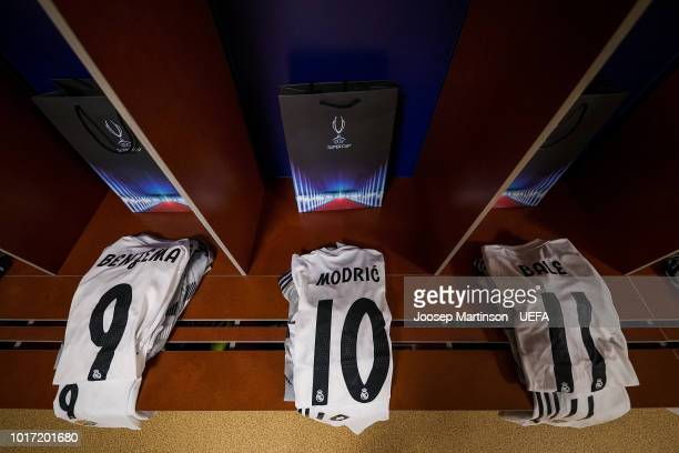 The jersey of Luka Modric is seen in the Real Madrid dressing room ahead of the UEFA Super Cup between Real Madrid and Atletico Madrid at Lillekula...