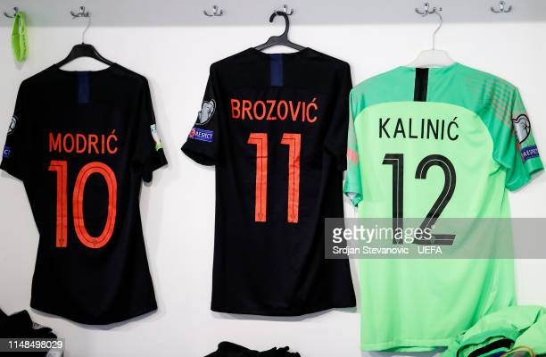 The Jersey of Luka Modric Marcelo Brozovic and goalkeeper Lovre Kalinic hang in in the Croatia team dressing room prior to the UEFA Euro 2020...
