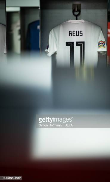 The jersey of Marco Reus is seen in the dressing room prior to the UEFA Nations League A group one match between Germany and Netherlands at...
