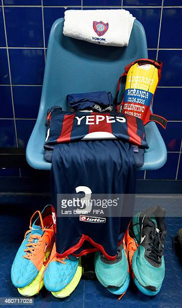 The jersey of Mario Yepes of San Lorenzo is seen prior to the FIFA Club World Cup Final between Real Madrid and San Lorenzo at Marrakech Stadium on...
