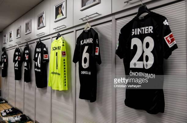 The jersey of Matthias Ginter of Borussia Moenchengladbach at the dressing room of Borussia Moenchengladbach head of the Bundesliga match between...