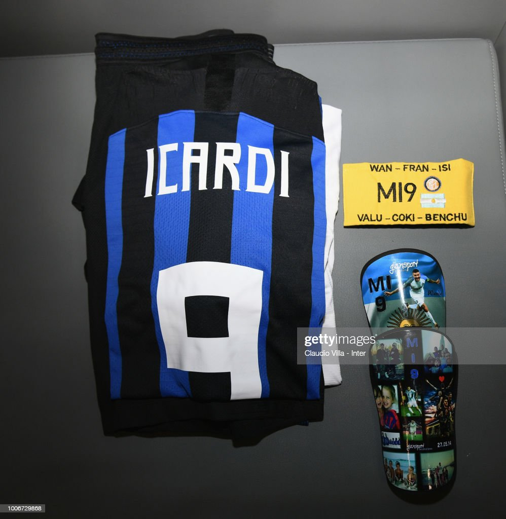 The jersey of Mauro Icardi is seen in the FC Internazionale dressing room ahead of the International Champions Cup 2018 match between Chelsea and FC Internazionale played at Allianz Riviera Stadium on July 28, 2018 in Nice, France.