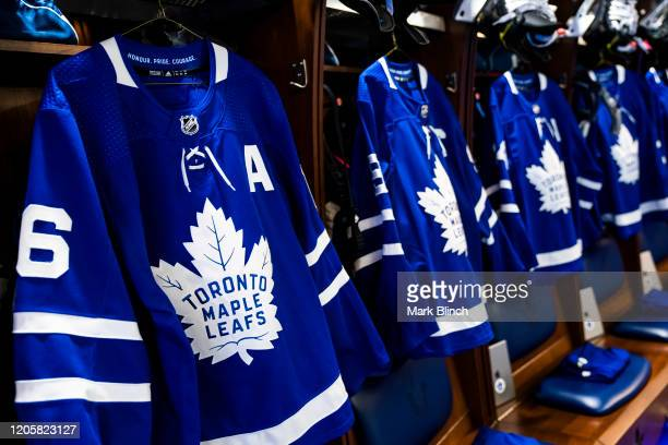 The jersey of Mitch Marner of the Toronto Maple Leafs hangs in the locker room at the Scotiabank Arena on February 11, 2020 in Toronto, Ontario,...