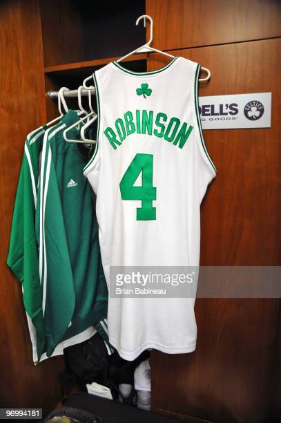 The jersey of Nate Robinson of the Boston Celtics hangs in his locker before the game against the New York Knicks on February 23 2010 at the TD...