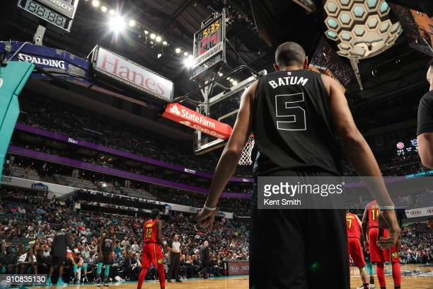The jersey of Nicolas Batum of the Charlotte Hornets as seen during the game against the Atlanta Hawks on January 26 2018 at Spectrum Center in...
