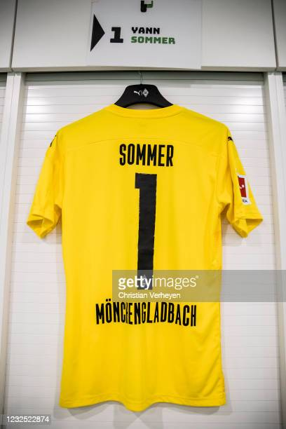 The jersey of of Yann Sommer of Borussia Moenchengladbach is seen before the Bundesliga match between Borussia Moenchengladbach and DSC Arminia...