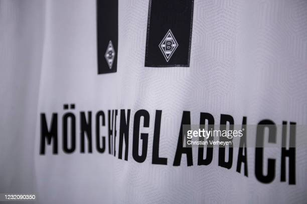 The jersey of Oscar Wendt of Borussia Moenchengladbach is seen before the Bundesliga match between Borussia Moenchengladbach and SC Freiburg at...