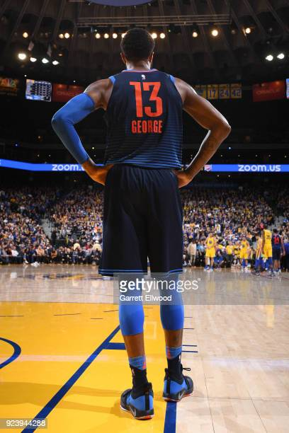 The jersey of Paul George of the Oklahoma City Thunder as seen during the game against the Golden State Warriors on February 24 2018 at ORACLE Arena...