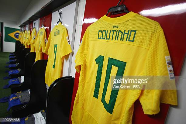 The jersey of Philippe Coutinho hangs in the dressing room of Brazil before the FIFA U20 World Cup Group E match between Brazil and Austria at...