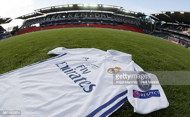 The jersey of Real Madrid is seen during a training session at Lerkendal Stadion on August 8 2016 in Trondheim Norway