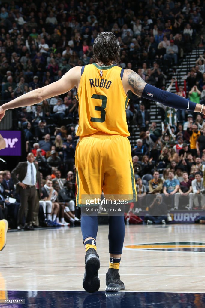 online retailer ebf0c 9d22d The jersey of Ricky Rubio of the Utah Jazz as seen during ...