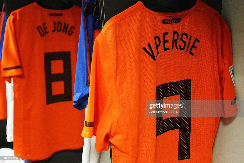 check out 9a869 80a16 The jersey of Robin Van Persie of the Netherlands hangs in ...
