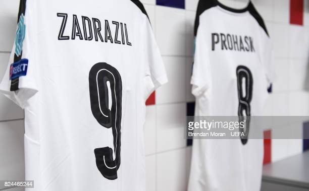 The jersey of Sarah Zadrazil in the Austria dressingroom prior to the UEFA Women's EURO 2017 Quarterfinal match between the Austria and Spain at...
