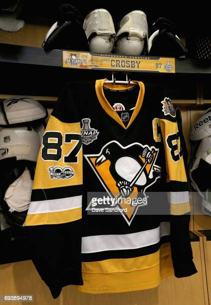 The jersey of Sidney Crosby of the Pittsburgh Penguins is seen in the locker room before Game Five of the 2017 NHL Stanley Cup Final between the...