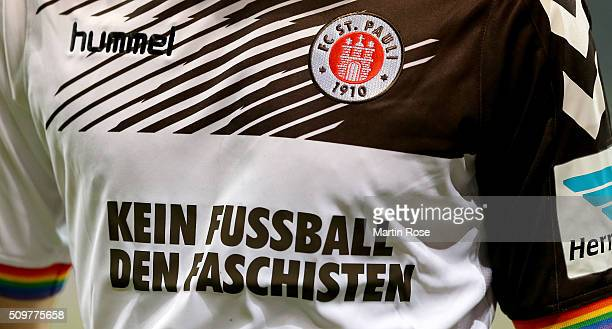 The jersey of St Pauli is pictured during the second Bundesliga match between FC St Pauli and RB Leipzig at Millerntor Stadium on February 12 2016 in...