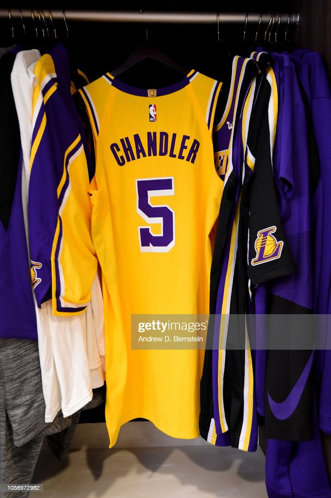 0aaa9c2e74a the jersey of Tyson Chandler of the Los Angeles Lakers is seen in ...