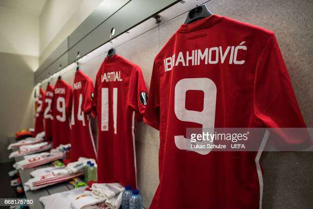 The jersey of Zlatan Ibrahimovic of Manchester United is seen in the dressing room of Manchester United prior to the UEFA Europa League quarter final...