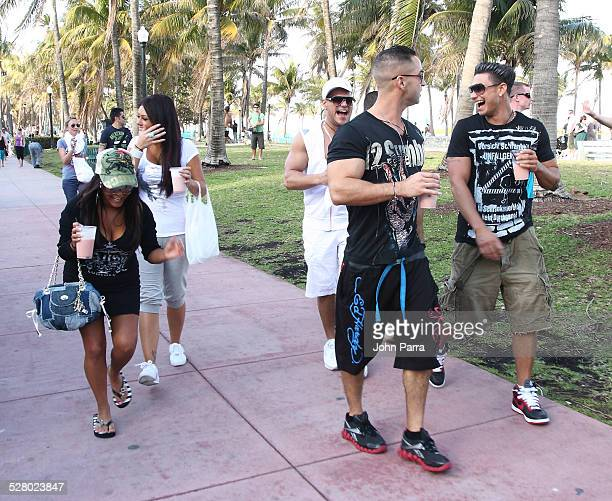 The Jersey Shore cast members are seen on April 6 2010 in Miami Beach Florida