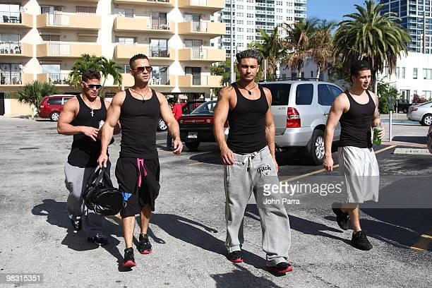 'The Jersey Shore' cast members Ronnie OrtizMagro Michael 'The Situation' Sorrentino Paul 'Pauly D' DelVecchio and Vinny Guadagnino are seen on April...