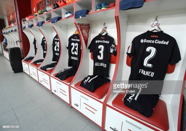 The jerseys of Alan Franco Nicolas Tagliafico and Nery Dominguez of Independiente are seen in the dressing room before a second leg match between...