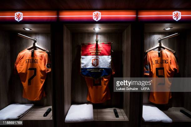 The jerseys of Calvin Stengs , Georginio Wijnaldum and Luuk de Jong are seen in their dressing room prior to the UEFA Euro 2020 Qualifier between The...