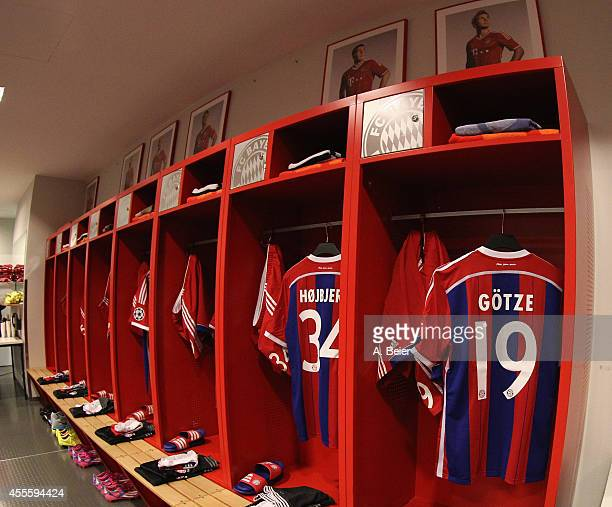 The jerseys of FC Bayern Muenchen players are pictured in the changing room before the UEFA Champions League Group E match between FC Bayern Muenchen...