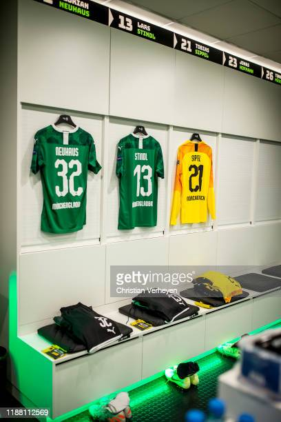 The jerseys of Florian Neuhaus Lars Stindl and Tobias Sippel are seen in the teamroom before the Group J UEFA Europa League match between Borussia...