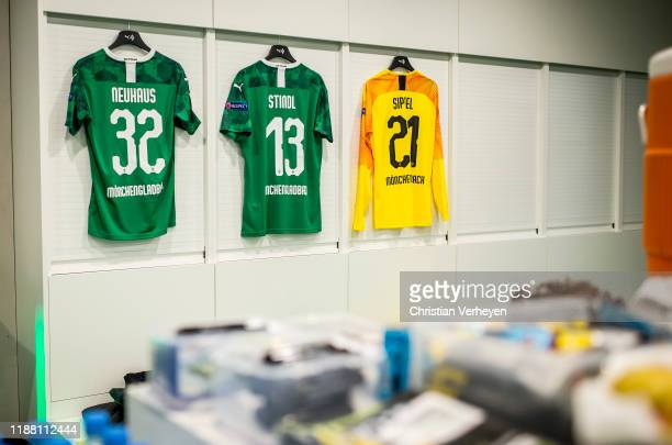 The jerseys of Florian Neuhaus Lars Stindl and Tobias Sippel of Borussia Moenchengladbach before the Group J UEFA Europa League match between...