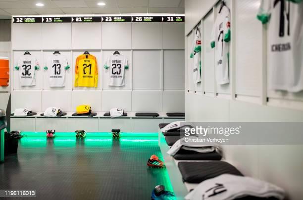 The jerseys of Florian Neuhaus Lars Stindl Tobias Sippel and Jonas Hofmann of Borussia Moenchengladbach are seen in the teamroom of Borussia...