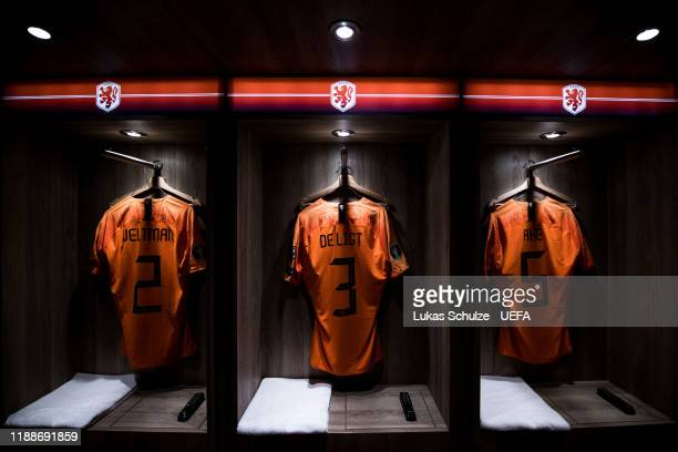 The jerseys of Joel Veltman , Matthijs de Ligt and Nathan Ake are seen in their dressing room prior to the UEFA Euro 2020 Qualifier between The...