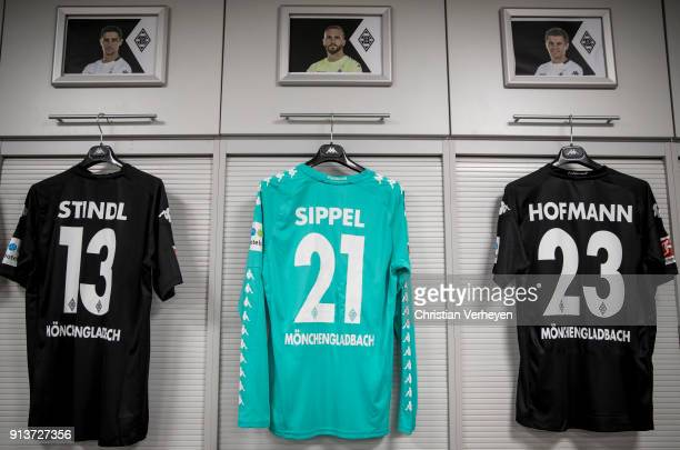 the jerseys of Lars Stindl Tobias Sippel and Jonas Hofmann of Borussia Moenchengladbach during the Bundesliga match between Borussia Moenchengladbach...