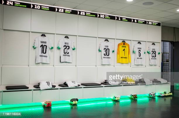 The jerseys of Marcus Thuram Laszlo Benes Nico Elvedi Yann Sommer Christoph Kramer and Matthias Ginter of Borussia Moenchengladbach are seen in the...