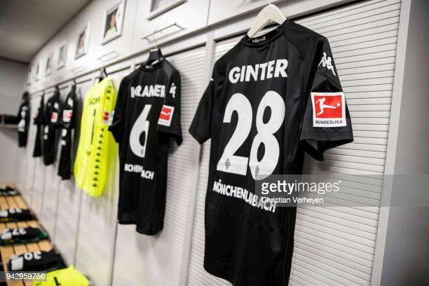 The jerseys of Matthias Ginter and Christoph Kramer of Borussia Moenchengladbach at the dressingroom of Borussia Moenchengladbach prior the...