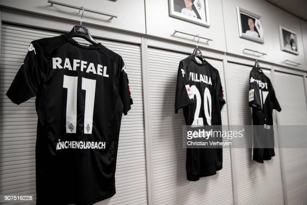 The jerseys of Raffael and Julio Villalba of Borussia Moenchengladbach prior the Bundesliga match between Borussia Moenchengladbach and FC Augsburg...