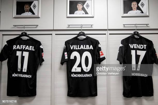 The jerseys of Raffael Julio Villalba and Oscar Wendt of Borussia Moenchengladbach during the Bundesliga match between Borussia Moenchengladbach and...