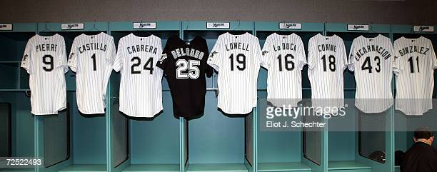 The jerseys of the Florida Marlins possible lineup with new first baseman Carlos Delgado January 27 2005 at Pro Player Stadium in Miami Florida
