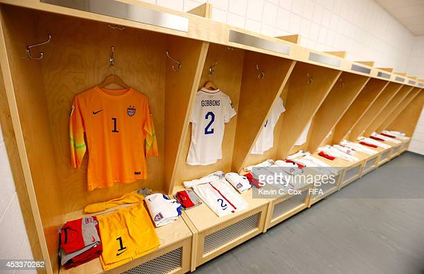The jerseys of the United States hang in the locker room prior to their FIFA U20 Women's World Cup Canada 2014 Group B match against Brazil at...