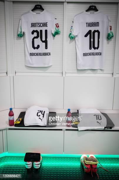 The jerseys of Tony Jantschke and Marcus Thuram of Borussia Moenchengladbach are seen in the teamroom before the Bundesliga match between Borussia...