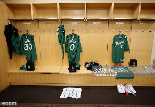 The jerseys sneakers and holiday socks of Al Horford Avery Bradley and Gerald Green of the Boston Celtics are seen in the locker room before the game...