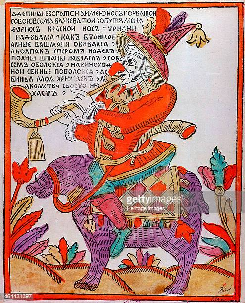 'The Jester Farnos the Red Nose' Lubok print 18th century Lubok prints were Russian popular prints with simple graphics portraying stories derived...
