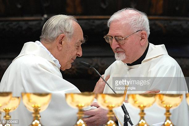 The Jesuit Cardinal Roberto Tucci and Father General PeterHans Kolvenbach the Head of Jesuits known as Black Pope attend a mass for the Society of...