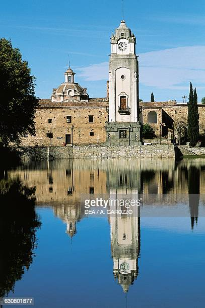The Jesuit church from Lake El Tajamar Alta Gracia Jesuit Block and Estancias of Cordoba Argentina 17th century