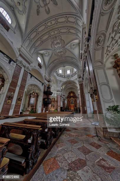 The Jesuit Church is seen from inside on January 28 2018 in Innsbruck Austria