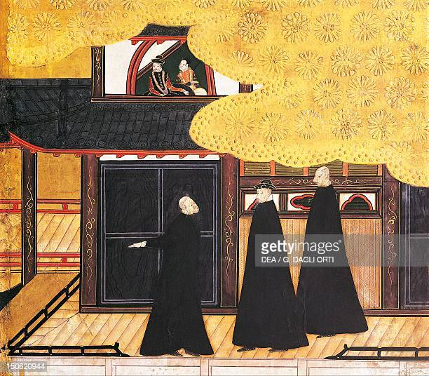 The Jesuit fathers detail from The Portuguese arriving in Japan paper screen Japan 17th century